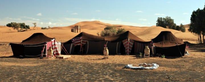 Erg Chebbi desert Morocco Merzouga dunes Berber tents camp, Source: iStock